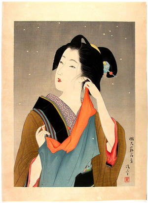 鏑木清方: Light Snowfall- V1 - Japanese Art Open Database