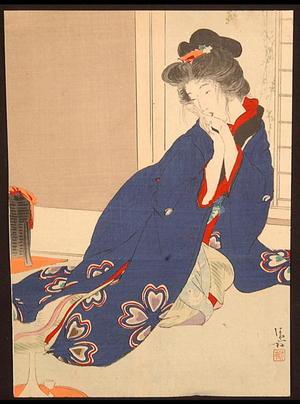 鏑木清方: Scarlet Peach — 緋桃 - Japanese Art Open Database