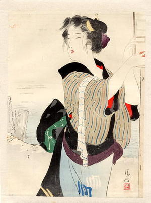 鏑木清方: Three-quarter length portrait of a bijin beside a river - Japanese Art Open Database