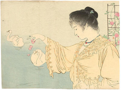 鏑木清方: White Swans — 白鳥 - Japanese Art Open Database