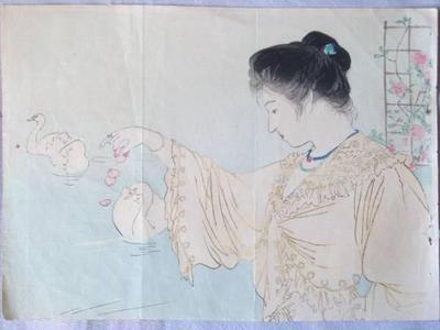 鏑木清方: White Swans — 白鳥 - Japanese Art Open Database