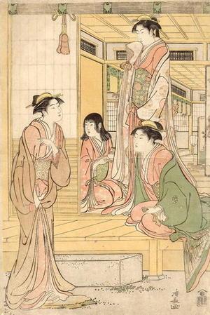 鳥居清長: Three bijin and a maidservant in conversation on the engawa - Japanese Art Open Database