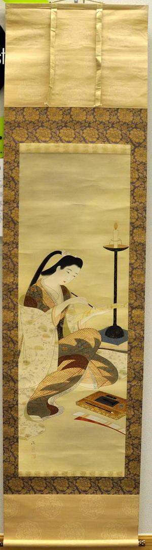 Kiyoshi Kobayakawa: Bijin writing a poem V1 - Japanese Art Open Database