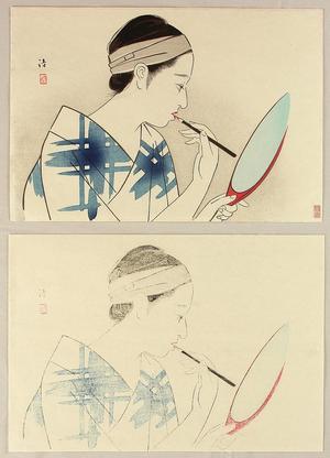 Kiyoshi Kobayakawa: Girl Applying Make-Up - Japanese Art Open Database