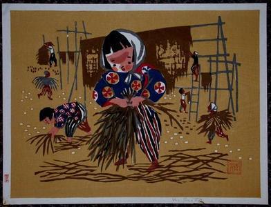 Kiyoshi Saito: Unknown, drying hay - Japanese Art Open Database