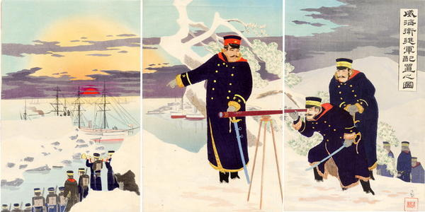 小林清親: A Picture of Advance Disposition of Troops at Weihaiwei — shingun haichi no zu. - Japanese Art Open Database