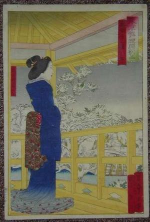 小林清親: A bijin standing on a balcony looking out over a snowscene with lake bridge and trees - Japanese Art Open Database