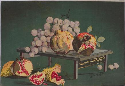 小林清親: Grapes and Pomegranates — ざくろにぶどう - Japanese Art Open Database