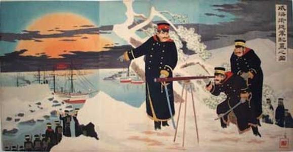 Kobayashi Kiyochika: Picture of advance disposition of troups at Weihaiwei - Japanese Art Open Database