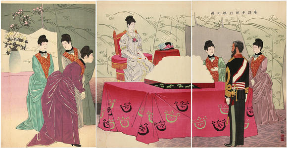 小林清親: The Empress Visiting the General Staff Headquarters — 野戦病院行啓之図 - Japanese Art Open Database