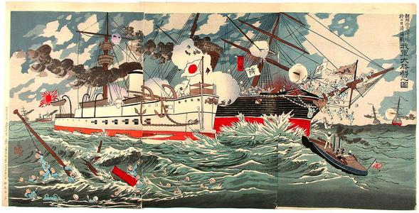 小林清親: The great victory of our Naval forces near Phung-to in Korea - Japanese Art Open Database
