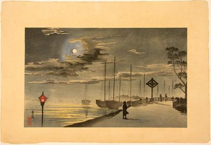 小林清親: Moon on a chilly night at Akashicho, Tsukiji — 築地明石町寒夜之月 - Japanese Art Open Database