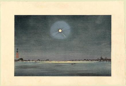 小林清親: The Winter Moon - Kinryuzan Viewed from the Banks of the Sumida River — 墨堤より望む金龍山 冬の月 - Japanese Art Open Database
