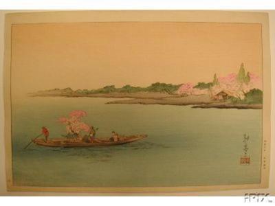 古峰: A Ferry on the Sumida River in the Cherry Season - Japanese Art Open Database