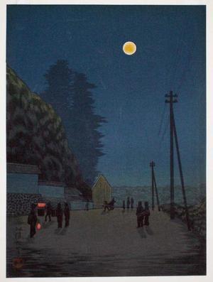 古峰: Night street scene - Japanese Art Open Database