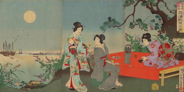 Kokunimasa Utagawa: Full-Moon View of Hinkai Sea — 品海眺望之圖 - Japanese Art Open Database