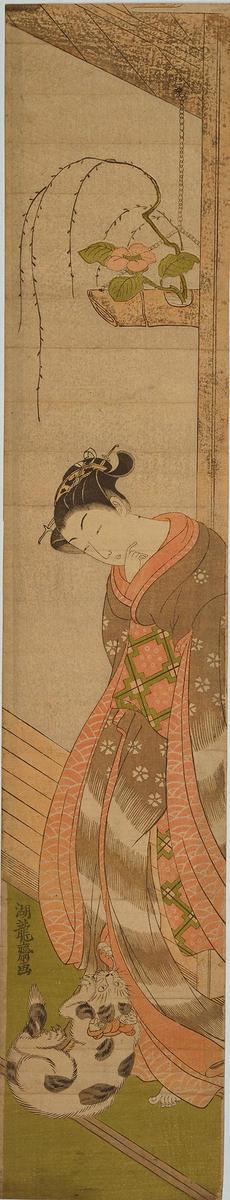 Isoda Koryusai: Cat Playing in a Girl's Skirt — じゃれる猫 - Japanese Art Open Database