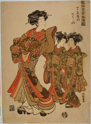 磯田湖龍齋: Courtesans in New Year Fashions- The Courtesan Chozan of the Chojiya House — 雛形若菜初模様 丁子屋内てう山 - Japanese Art Open Database