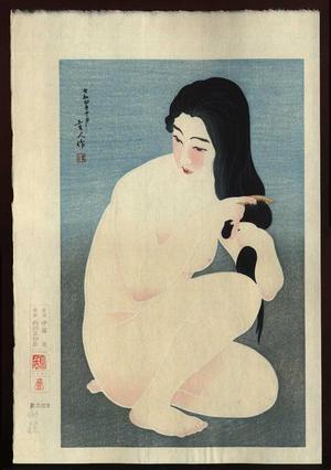 鳥居言人: Combing Her Hair - Japanese Art Open Database