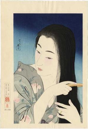 鳥居言人: Combing the Hair (Kamisuki) — 髪梳き - Japanese Art Open Database