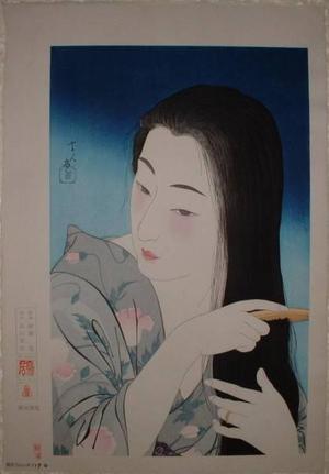 Torii Kotondo: Combing the Hair (Kamisuki) — 髪梳き - Japanese Art Open Database