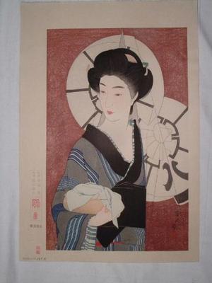 鳥居言人: Coming out of the bath house (Yugaeri) — 湯帰り - Japanese Art Open Database