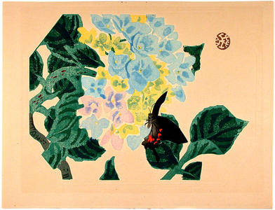 Kotozuka Eiichi: Butterfly and Hydrangeas - Japanese Art Open Database