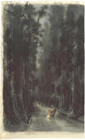 Kotozuka Eiichi: Cryptomerias Trees in Nikko — 日光杉並木 - Japanese Art Open Database