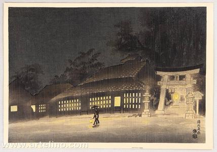 Kotozuka Eiichi: Night Rain in Kyoto - Japanese Art Open Database
