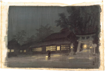 Kotozuka Eiichi: Night Rain in Kyoto- watercolour - Japanese Art Open Database
