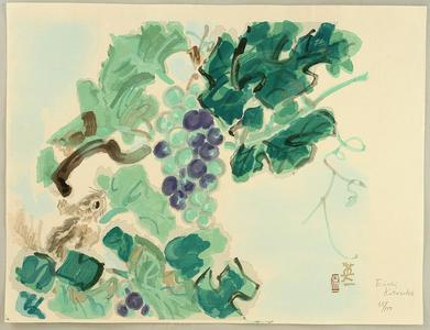 Kotozuka Eiichi: Squirrel and grapes - Japanese Art Open Database