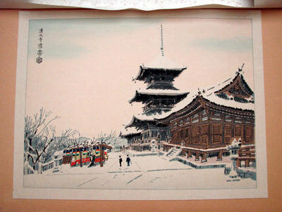 Kotozuka Eiichi: Snow Scene of Kiyomizu Temple in Kyoto - Japanese Art Open Database