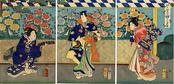 Utagawa Kuniaki: Edo Murasaki Kikuzakari (Chrysanthemum Display) - Japanese Art Open Database