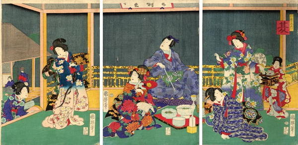 歌川国政〈2〉: Prince Genji enjoying an open air supper - Japanese Art Open Database