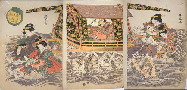 Kuninao Utagawa: A Young Lady and Her Maids Being Transported across the River in Spring — 春景色娘道中 - Japanese Art Open Database