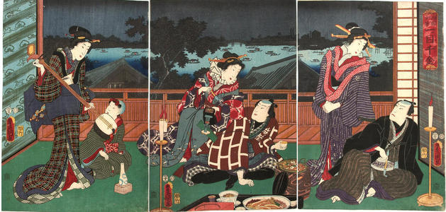 歌川国貞: Actors having a dinner party with geishas - Japanese Art Open Database