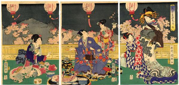 Utagawa Kuniteru: at Cherry Blossom Time - Japanese Art Open Database