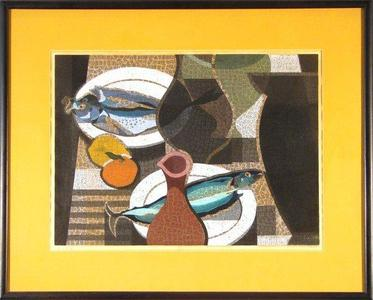 Mabuchi Toru: Table Setting With Fish - Japanese Art Open Database