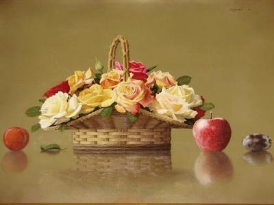 前田藤四郎: Rose Basket and Fruit — 篭の薔薇と果実 - Japanese Art Open Database