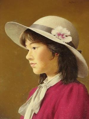 前田藤四郎: White Hat — 白い帽子 - Japanese Art Open Database