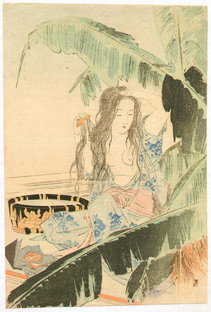 Mishima Shoso: Bijin nude washing - Japanese Art Open Database