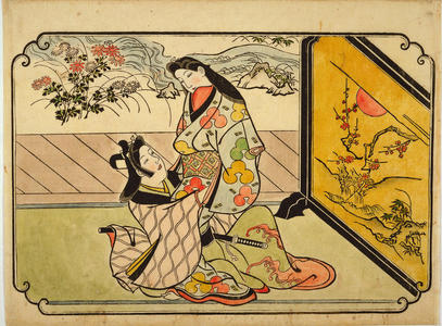 Hishikawa Moronobu: Behind the Standing Screen — 衝立のかげ - Japanese Art Open Database