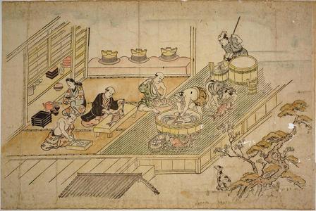 菱川師宣: Scene in the Yoshiwara Pleasure Quarter — よしはらの躰 - Japanese Art Open Database
