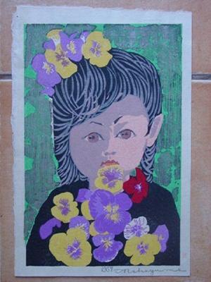 Nakayama Tadashi: Child with Flowers - Japanese Art Open Database
