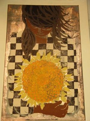 Nakayama Tadashi: Girl with sunflower - Japanese Art Open Database
