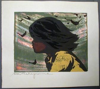 Nakayama Tadashi: Unknown, child in wind - Japanese Art Open Database
