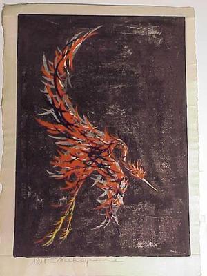 Nakayama Tadashi: Untitled- bird in flight - Japanese Art Open Database