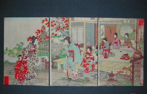 渡辺延一: Gathering for Tea Party — 茶乃湯集楽 - Japanese Art Open Database