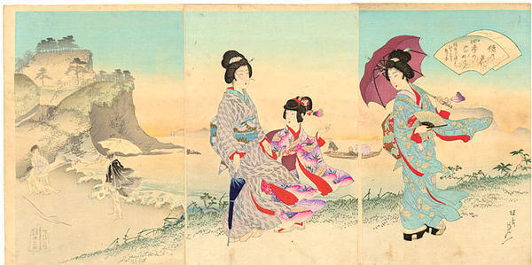 渡辺延一: Women walking on the beach near Inamuragasaki Promontory, Kamakura - Japanese Art Open Database