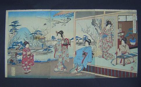 渡辺延一: Beauties Sightseeing in Plum Garden — 美人梅見遊覧之図 - Japanese Art Open Database